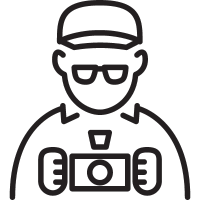 Photographer with Cap and Glasses