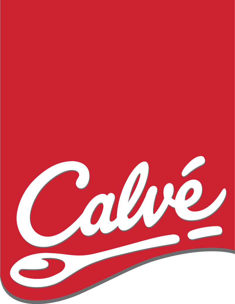 Calve logo with red label vector