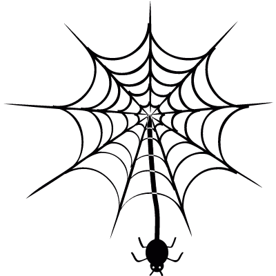 Spider hanging of  web vector logo