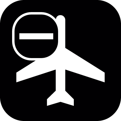 Passengers airplane top view with a minus sign in a rounded square vector logo