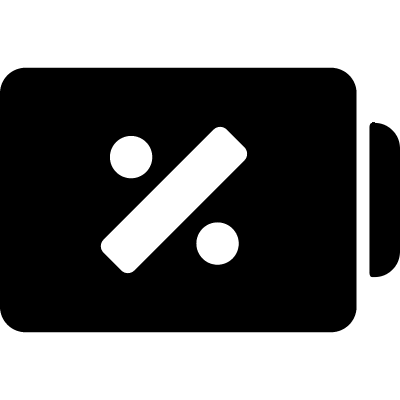 Battery status symbol with percentage sign vector logo