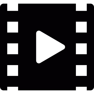Strip of film with play symbol logo