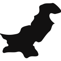 Pakistan black country map shape