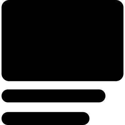 Rectangular image and text lines aligned to left vector logo