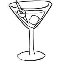 Cocktail Glass with ice cube vector