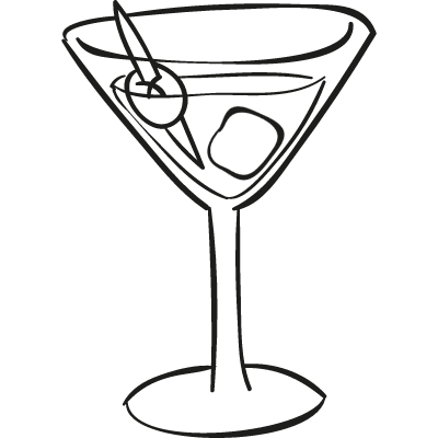 Cocktail Glass with ice cube vector logo