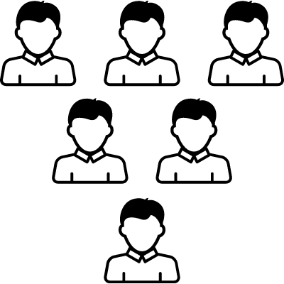 Male group forming a triangular shape pointing down vector logo