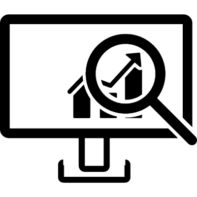 Data analysis interface symbol of a monitor with a bars graphic with a magnifier vector logo