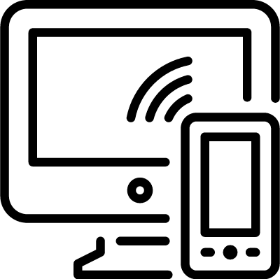Connection between computer and smartphone vector logo