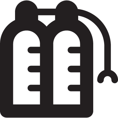 Two Oxygen Bottles with Mask vector logo