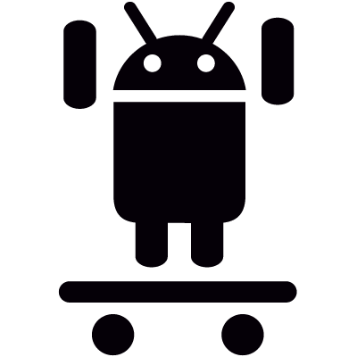 Android with Raised Arms On Skateboard vector logo
