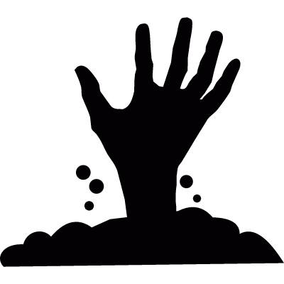 Hand appearing from under the soil vector logo