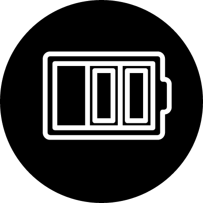 Battery thin outline symbol in a circle vector logo