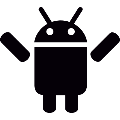 Android with Two Arms Up vector logo