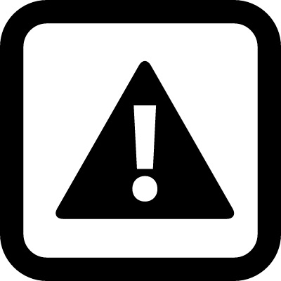 Caution sign of a exclamation symbol in a triangle inside a rounded square outline vector logo