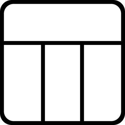 Design structure of a grid with columns in a square logo
