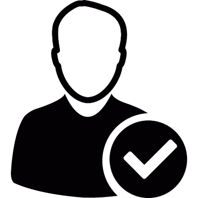 User avatar with check mark vector logo