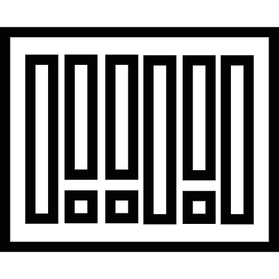 Black bars inside a rectangle, abacus tool, IOS 7 interface symbol vector logo