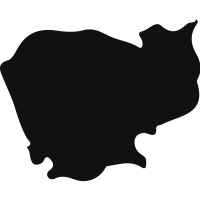 Cambodia black country map shape