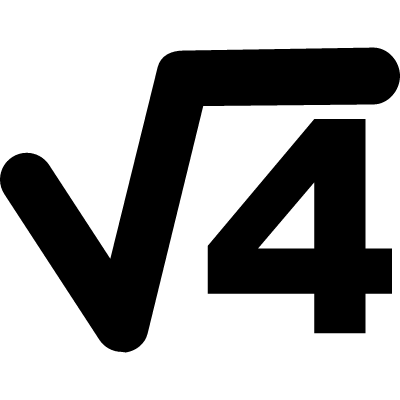 Science or maths symbol of root of number four vector logo