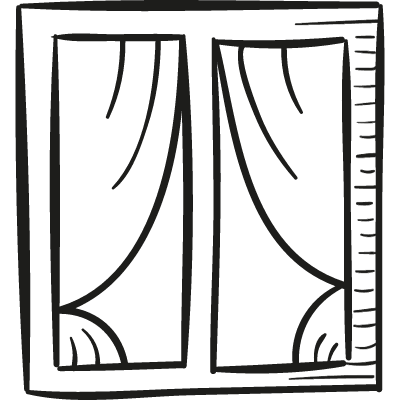 Window with Curtains vector logo