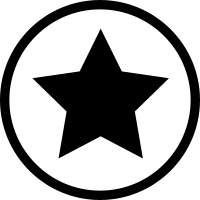 Star black shape in a circle outline favourite interface symbol