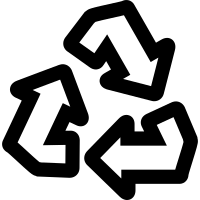 Reuse symbol of three arrows forming a triangle vector