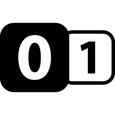 Zero to one binary interface symbol with two numbers in rounded squares vector logo