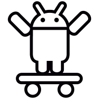 Android On Skateboard With Both Arms Up