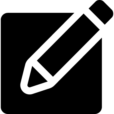 Note filled square with a pencil vector logo
