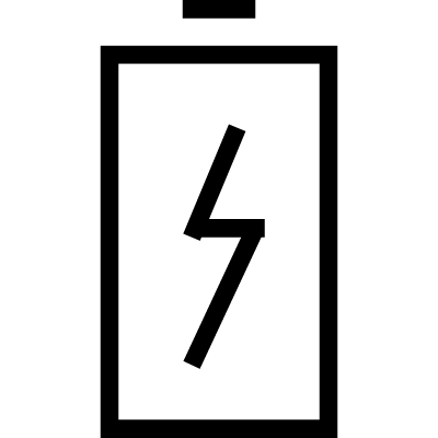 Charge battery symbol with a bolt vector logo