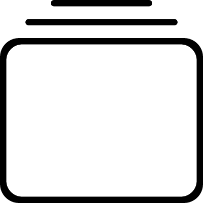 Rectangle of rounded shape with two lines up vector logo
