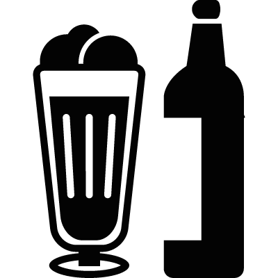 Beer in glass and bottle logo