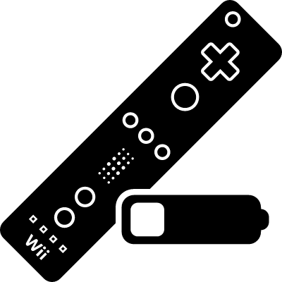 Wii game control with low battery status logo