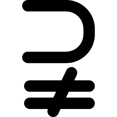 Superset of above not equal to symbol vector logo