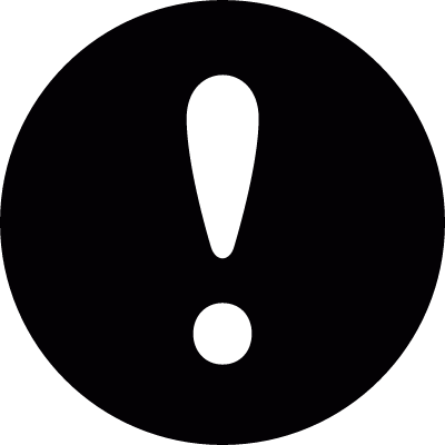 Exclamation mark in a circle vector logo