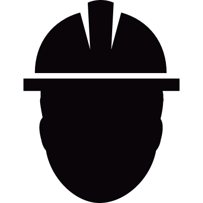 Worker with safety helmet vector logo