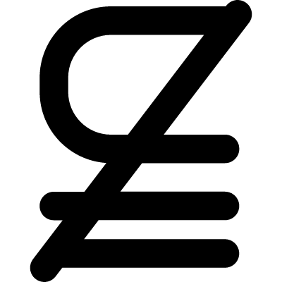 Subset of above not equal to mathematical symbol vector logo
