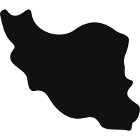 Iran black country map shape