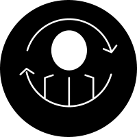 Person synchronization symbol in a circle