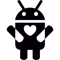 Android with Heart On Chest vector