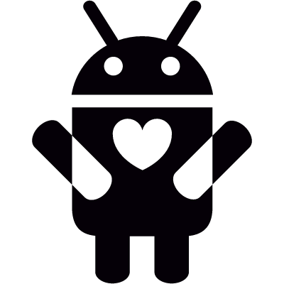 Android with Heart On Chest vector logo
