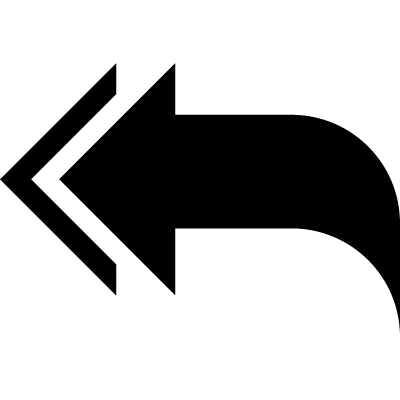 Arrow with curved tip pointing to the left vector logo