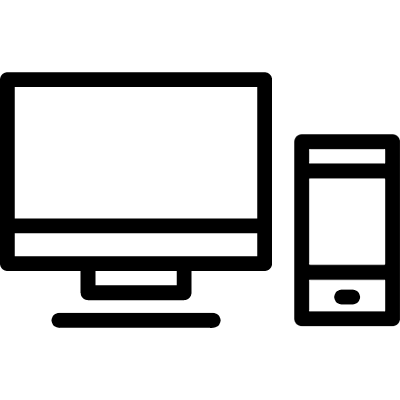 Phone and computer monitor outlines inside a circle vector logo