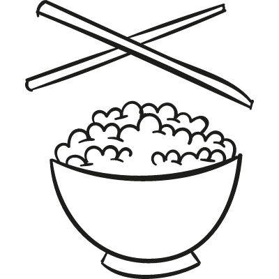 Chinese Rice with two Chopsticks vector logo