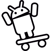 Android On Skateboard with Arms Up