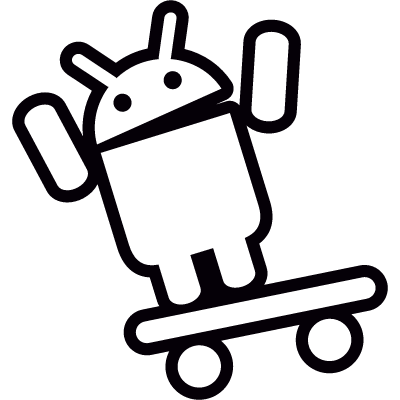 Android On Skateboard with Arms Up logo