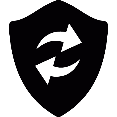 Refresh arrows in a shield vector logo