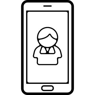 Male contact image on mobile phone screen logo