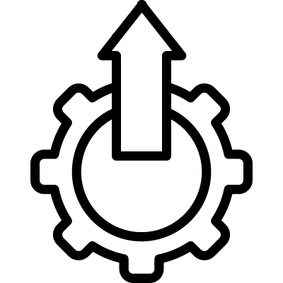 Settings symbol with up arrow in a circle vector logo